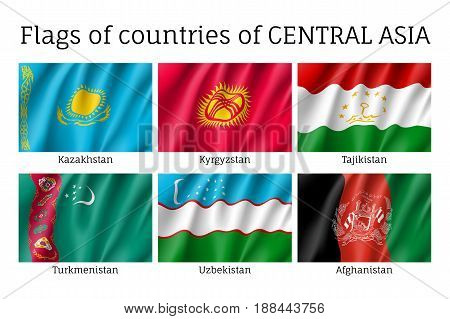 Set of flags of central Asia, Kazakhstan, Kyrgystan, Tajikistan, Turkmenistan, Uzbekistan, Afghanistan, realistic and wind waving, silky material. Vector illustration