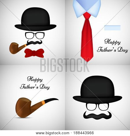 Illustration of elements of hat, smocking pipe, tie, bow, mustache, spectacles with happy father's day text