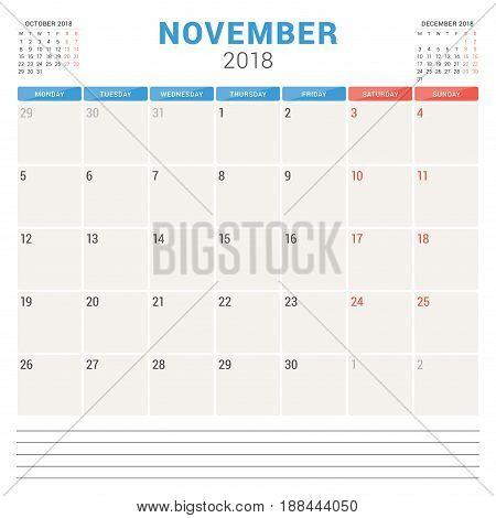 November 2018. Calendar Planner Vector Design Template. Week Starts On Monday. Stationery Design