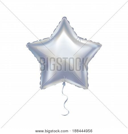 Silver star balloon on background. Party balloons event design decoration.