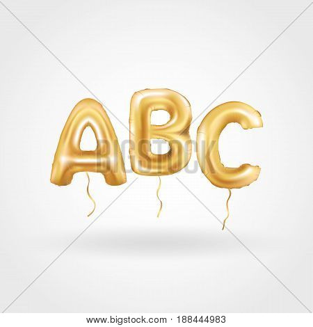 ABC gold letter balloons on white background. Golden alphabet balloon logotype, icon. Metallic Gold ABC Balloons. Text for children's reading, hornbook, Letter, holiday, birthday, celebration.