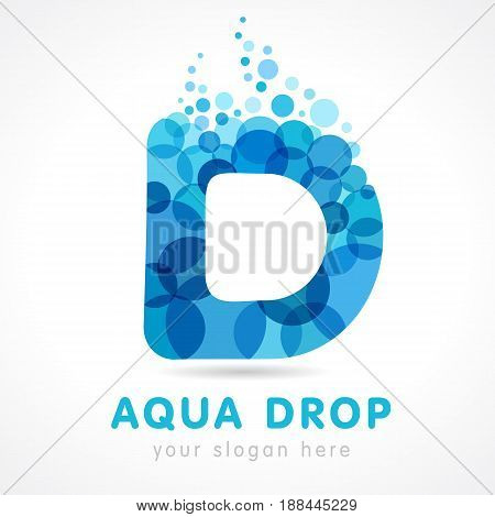 Aqua drop D letter logo. Logo of tourism, resort or hotel by the sea in letter