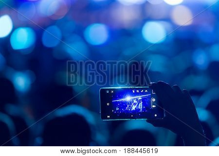 Hand With A Smartphone Records Live Music Festival
