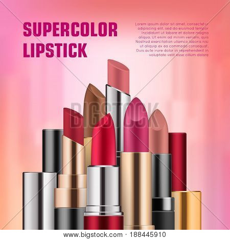 Set of glossy lipsticks for ads, poster or banner. Realistic blank template of different containers for lip sticks. Cosmetic for makeup. Elegant vector 3d illustration isolated on white
