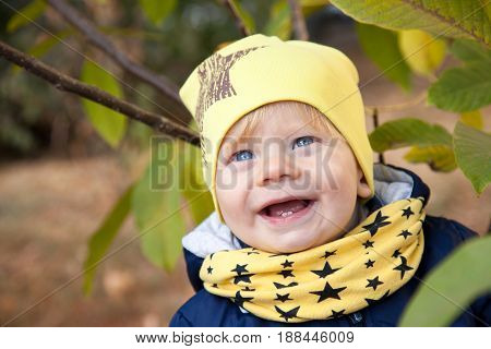 1 years old boy smiling in autumnal scenery, child
