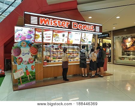 CHIANG RAI THAILAND - MARCH 1 : Department store interior view with Mister Donut shop at Central Plaza on March 1 2017 in Chiang rai Thailand