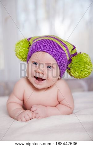 Beautiful happy cute laughing smiling baby infant face, child