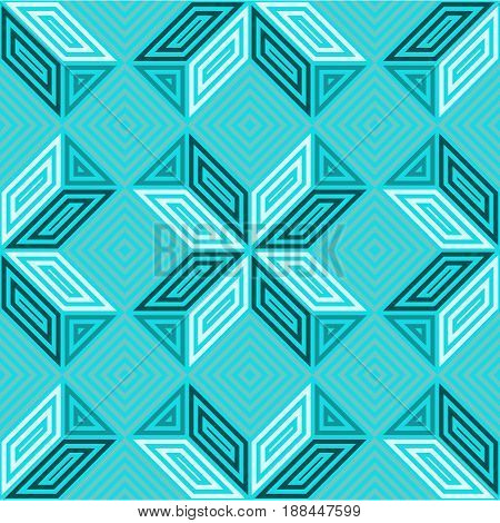 Seamless vector pattern with various shades of turquoise aquamarine and blue, tone in tone, patchwork or mosaic inspiration, square geometrical composition, usable for web wallpapers decoration cards
