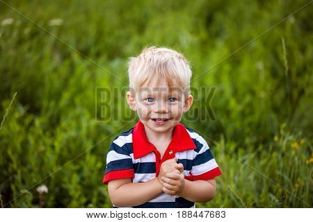 little boy is happy, smiling, standing against a background of grass, child
