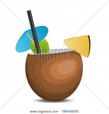Tropic coconut fresh cocktail pina colada isolated on white background