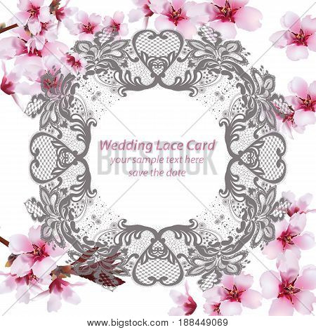 Spring cherry flowers Lace frame. Vector ilustration