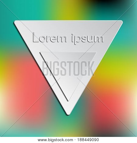 Triangle vector logo and interface template. Template for logo or presentation. Editable. Vector blurred background. Unfocused. Colorful.