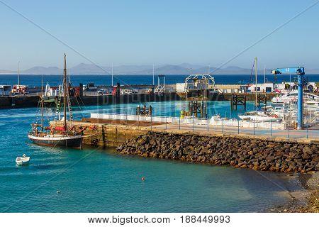 Playa Blanca, Lanzarote, 29 March, 2017: Boats And Yachts In Rubicon Marina, Lanzarote, Canary Islan