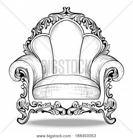 Exquisite Imperial Baroque armchair in luxurious fabric ornament. Vector French Luxury rich intricate structure. Royal Style decor