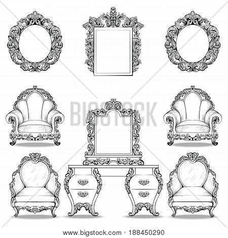 Rich Baroque Rococo armchair and dressing table set. French Luxury carved ornaments furniture. Vector Victorian exquisite Style decorated wooden structure