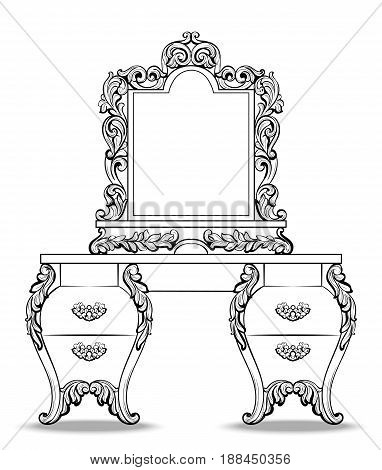 Fabulous Baroque Console Table and Mirror frame set. Vector French Luxury rich carved ornaments. Victorian wealthy Style decorated furniture decor