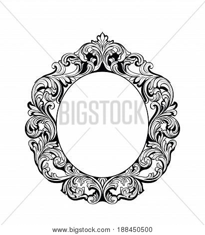 Imperial Baroque Mirror frame. Vector French Luxury rich intricate ornaments. Victorian Royal Style decor