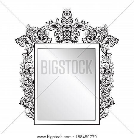 Imperial Baroque Mirror frame. Vector French Luxury rich intricate ornaments. Victorian Royal Style