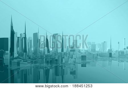 panorama glass low poly city on coast. 3d rendering