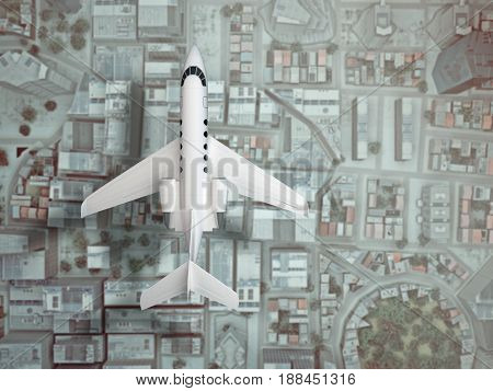 private airplane fly above city. top view. 3d rendering