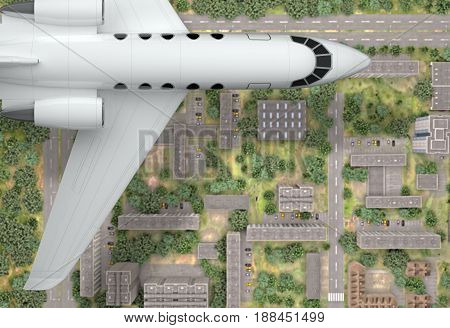 fragment private airplane fly above city. top view. 3d rendering