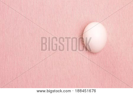 Top view of white egg on the pink background, isolated. Design, visual art, minimalism