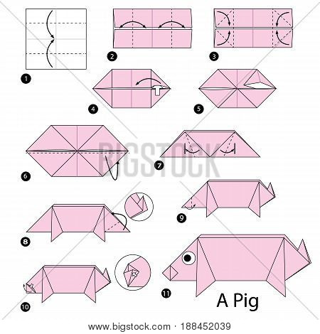 step by step instructions how to make origami A Pig.