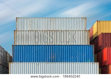 Handling stack of container shipping., Transportation business.