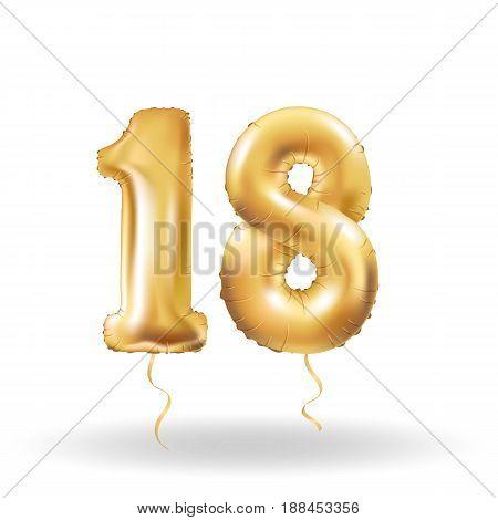 Golden number eighteen metallic balloon. Party decoration golden balloons. Anniversary sign for happy holiday, celebration, birthday, carnival, new year. Metallic design balloon.