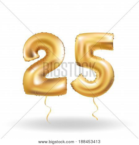 Golden number 25 twenty five metallic balloon. Party decoration golden balloons. Anniversary sign for happy holiday, celebration, birthday, carnival, new year. Metallic design balloon.