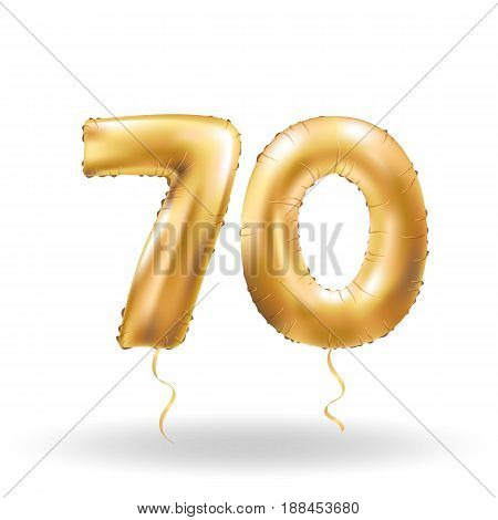 Golden number seventy metallic balloon. Party decoration golden balloons.