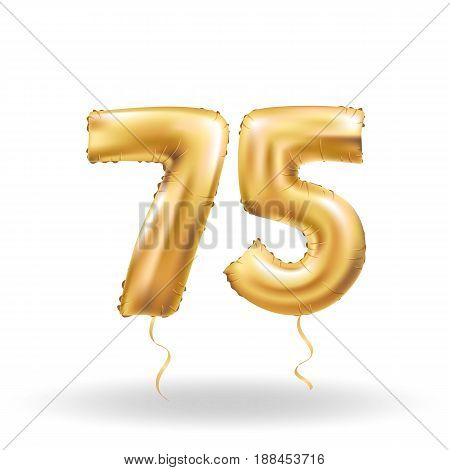 Golden number 75 seventy five metallic balloon. Party decoration golden balloons.