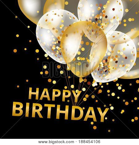 Balloons happy birthday on black. Gold balloon sparkles holiday background. Happy Birthday to you logo