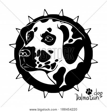 Logo, vector illustration, black and white drawing drawing of a head of a dog of the breed of a Dalmatian breed, on a background of a collar