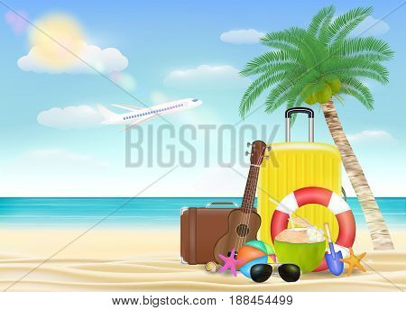 Sea travel object with sun glasses suitcase ukulele safety torus beach ball with beach pattern