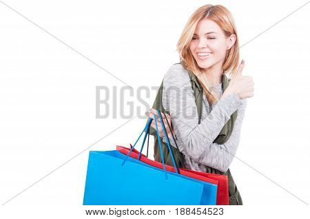 Happy Smiling Woman With Shopping Bags