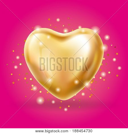 Heart Gold balloon on pink background. party balloons event design. Balloons isolated in the air. Party decorations wedding, birthday, celebration, love, valentines. Shine transparent balloon