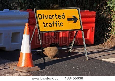 Diversion sign on a closed road for roadworks