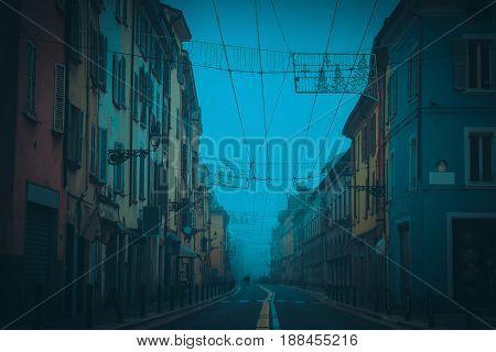 Town Street In Dark Night