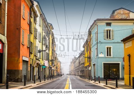 Old Street With Colorful Buildings In Parma