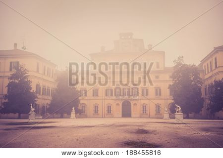 Ducale Palace In Foggy Day Parma