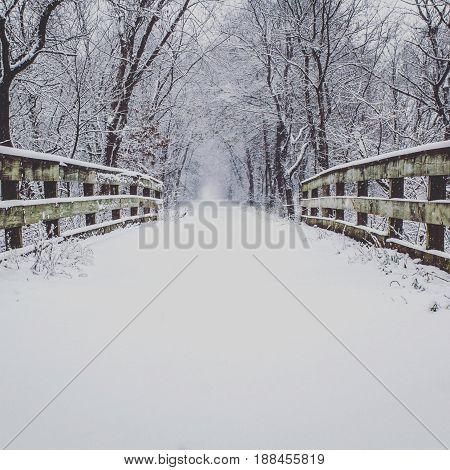 Winter near Eau Claire Wisconsin USA on a bridge