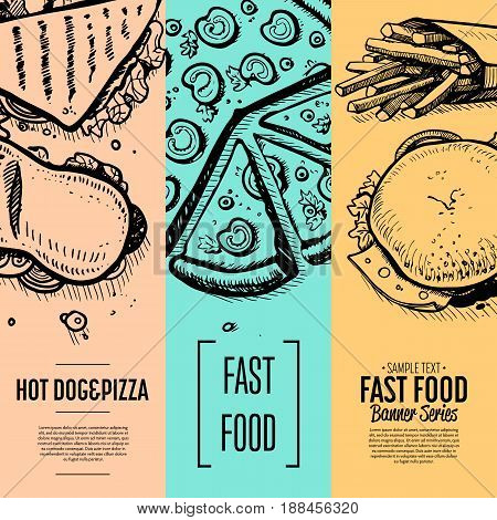Fast food cafe menu corporate identity set. Restaurant menu card vector illustration with chicken, pizza, sandwich, dessert, drink. Cafe price design, junk food retro poster with snack linear sketches