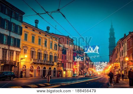 Night Street In The Center Of Parma