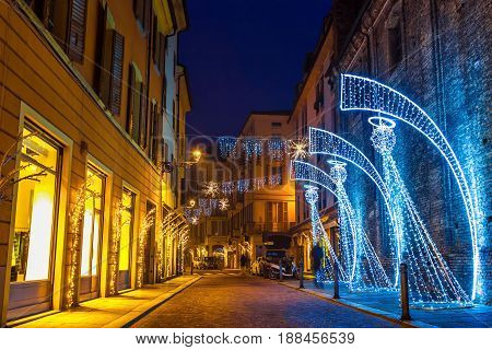Night Street Decorated With Lighting Angels In Parma