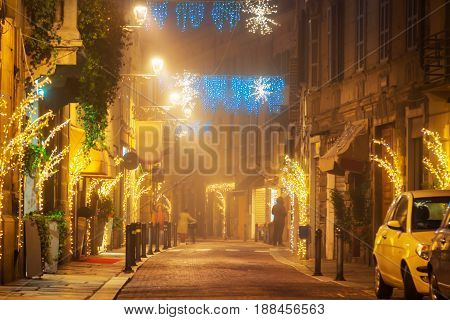 Night Street With Holiday Decoration In Parma
