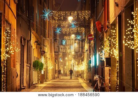 Night Old Street With Christmas Decoration In Parma