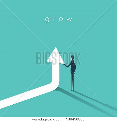 Businessman holding arrow going up vector symbol. Business concept of growth, success and achievement. Eps10 vector illustration.