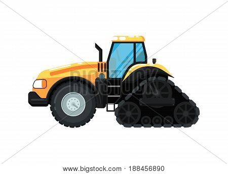 Caterpillar farm tractor isolated vector illustration. Rural industrial farm equipment machinery, comercial transport, agricultural vehicle in flat design