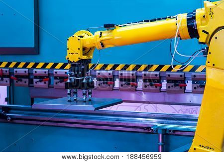 Augmented reality for industry concept. Robotic and Automation system control application on automate robot arm in smart manufacturing background.